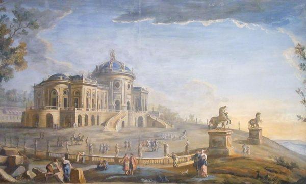 Schloss Solitude, Gemälde von Jean Adrien Claude Servadoni, um 1765; Foto: Wikimedia Commons, gemeinfrei