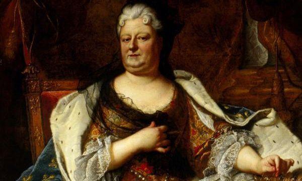 Liselotte von der Pfalz in einem Gemälde von Hyacyinthe Rigaud oder seiner Werkstatt, um 1713