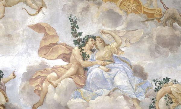 Bacchus und Ariadne, Ausschnitt aus Deckengemälde im Appartement der Markgräfin, Residenzschloss Rastatt