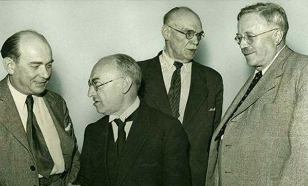 Von links: Innenminister Viktor Renner, Tübingen, Staatspräsident Leo Wohleb, Freiburg im Breisgau, Finanzminister Heinrich Köhler, Karlsruhe, Ministerpräsident Reinhold Maier, Stuttgart