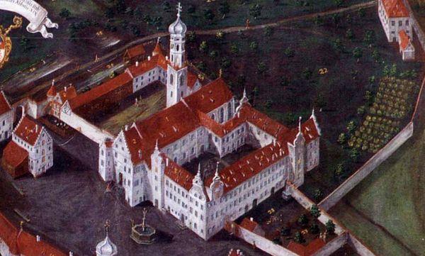 Historische Ansicht von Kloster Schussenried, Gemälde von 1721 im Klostermuseum; Foto: Wikipedia, gemeinfrei