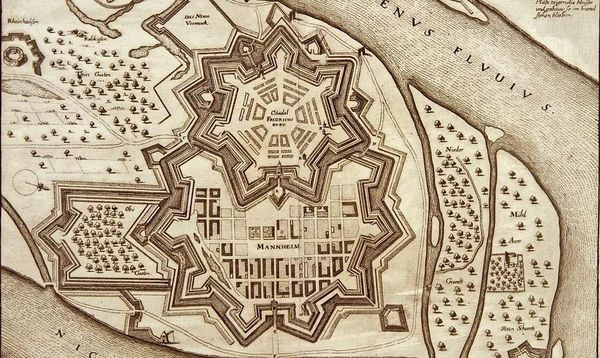 Stadt und Zitadelle Mannheim, Kupferstich von Matthäus Merian, 1. H. 17. Jahrhundert