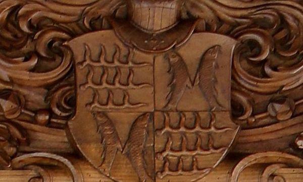 Detailbild des Wappens der Grafen von Württemberg-Mömpelgard in Schloss Urach; Foto: Staatliche Schlösser und Gärten Baden-Württemberg, Thomas Kiehl