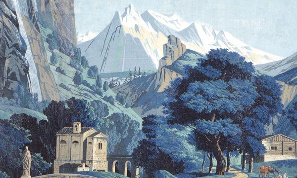 Schloss Schwetzingen, Schweizer Zimmer, Detail Panoramatapete, P. A. Mongin 1804; Foto: Staatliche Schlösser und Gärten Baden-Württemberg, Arnim Weischer