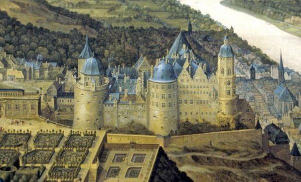 Ausschnitt aus dem Gemälde von Schloss Heidelberg mit dem Hortus Palatinus, Jacques Fouquières, Öl auf Leinwand, 1620