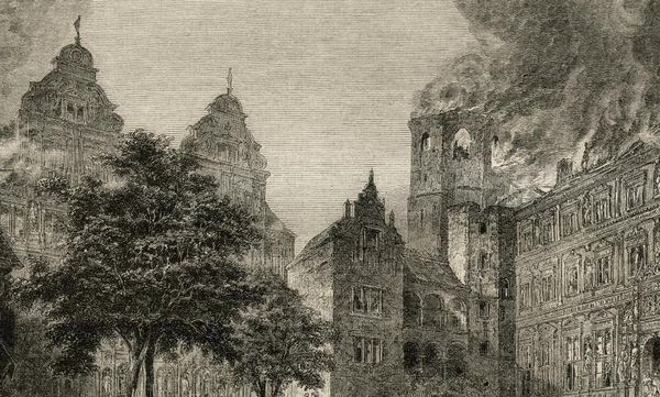 Detailbild der Zerstörung Heidelbergs im Pfälzischen Erbfolgekrieg